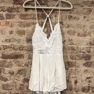 Pants - Lace Embroidered White Romper